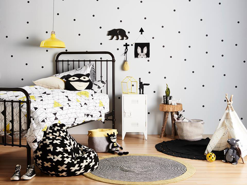 yellow and black kids room inspiration on childmagsblog