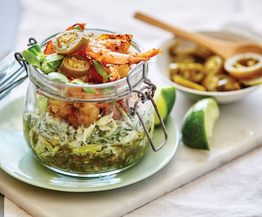 spicy prawn jar with jalapeno salsa
