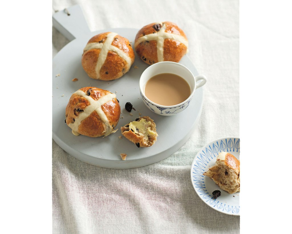 dried cherry & chocolate hot cross buns