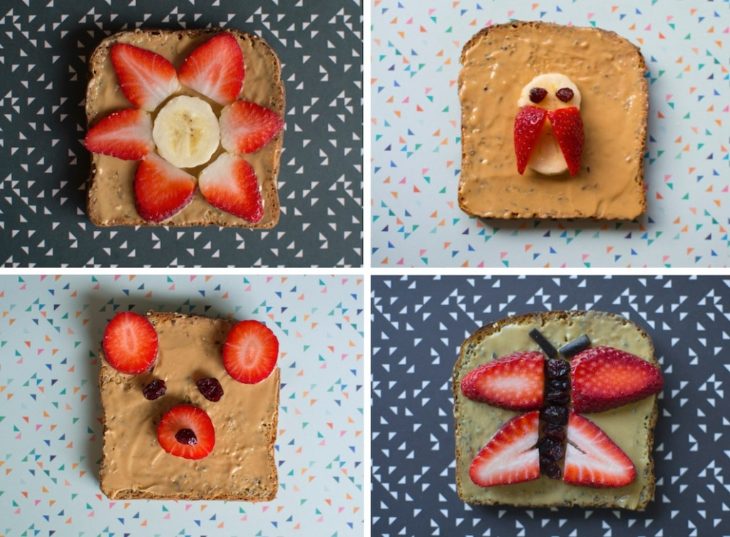 Peanut butter and strawberry toast - four ways