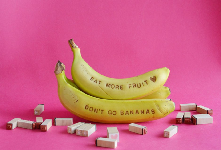 DIY scratched bananna messages on child mags blog