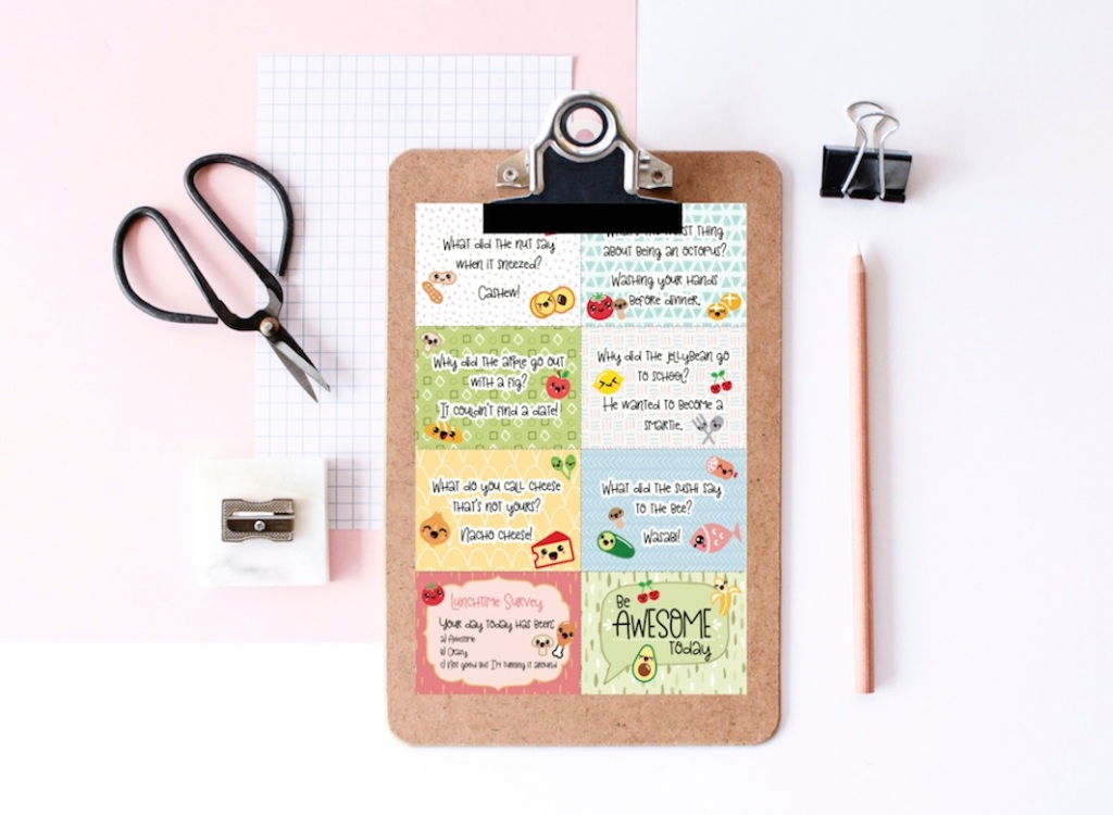 free printable Kawaii Lunch Box Notes